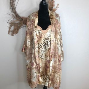 Animal print and floral sheer lingerie robe/dress